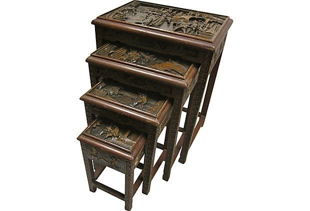 Antiques Set Of 19th Century Carved Chinese Hardwood Nest Of Tables