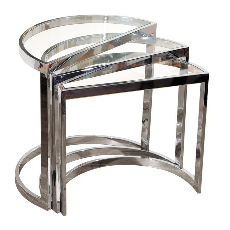 Exceptionnel Chrome Glass Nesting Tables