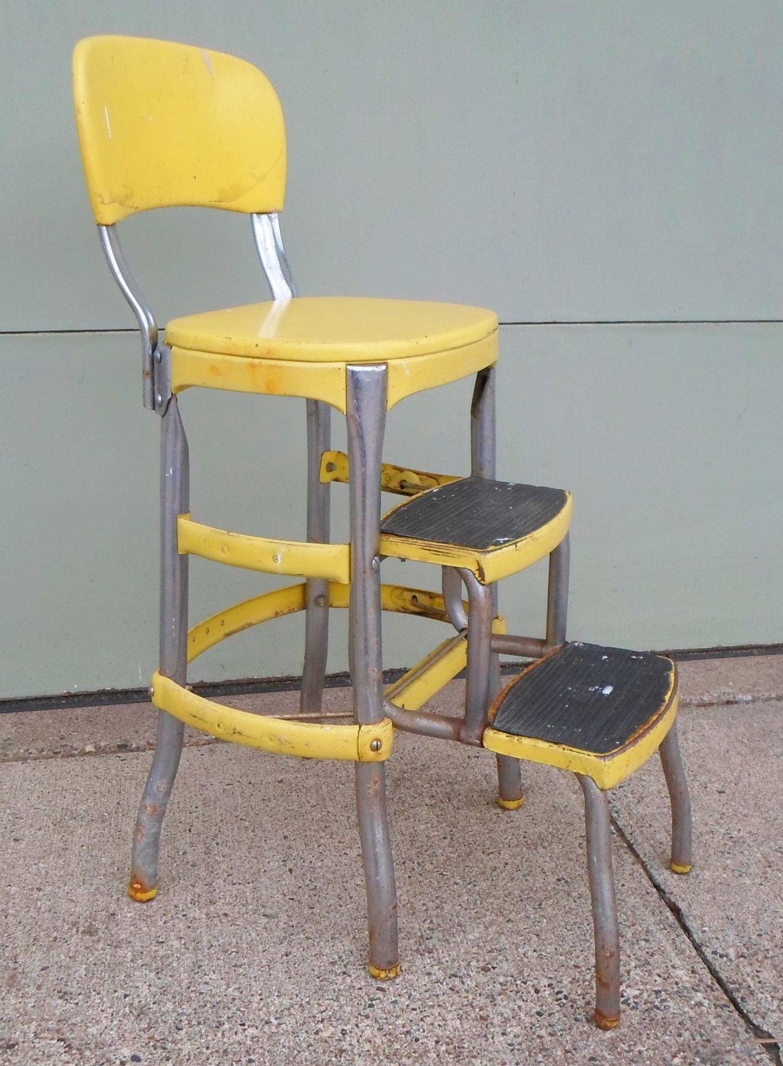 Superbe Vintage Cosco Chair Step Stool Yellow Mid By Alsredesignvintage, $79.00