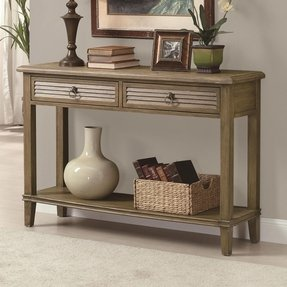 Entryway console table with shutter front drawers
