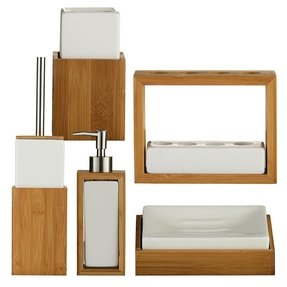 Wood bath accessories foter for Bathroom sink accessories sets