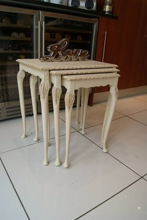 French style hardwood nest of tables painted with chalk paint