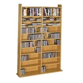 Leslie Dame Wall Media Rack Oak Cd 1000