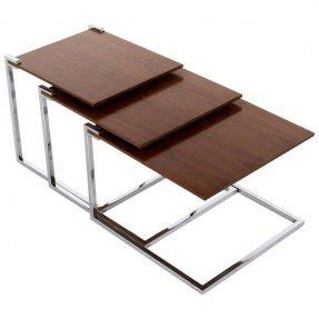 Set of 3 cantilevered floating stainless steel walnut nesting tables