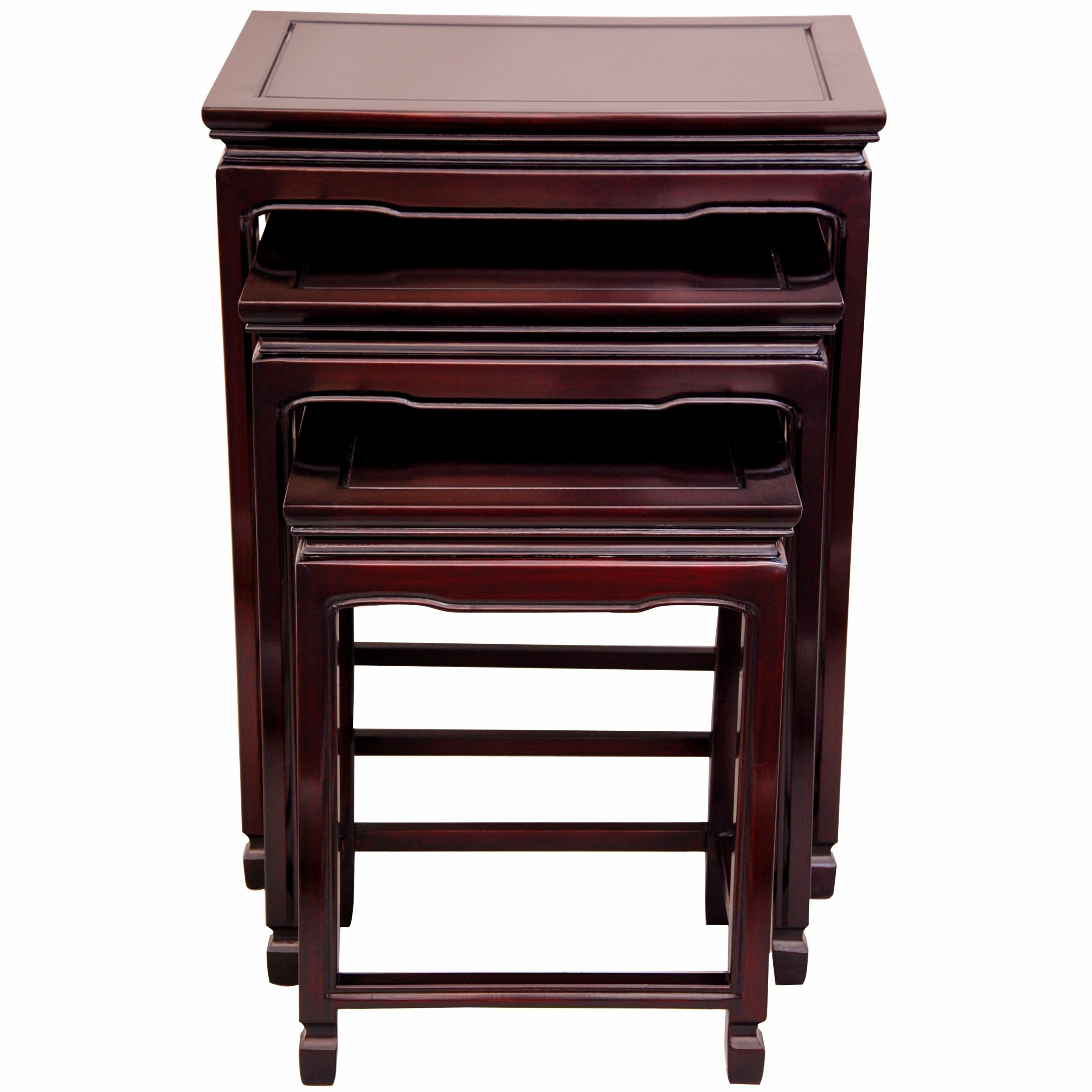 Set of 3 rosewood two tone nesting tables china