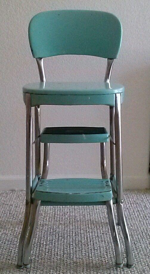 Superbe Vintage Aqua Cosco Chair Step Stool Mid Century Retro Kitchen