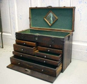 Vintage oak machinist tool chest box 1