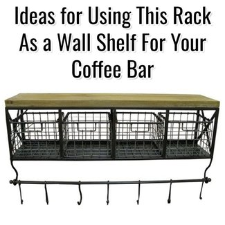 Wall shelf with hooks and baskets