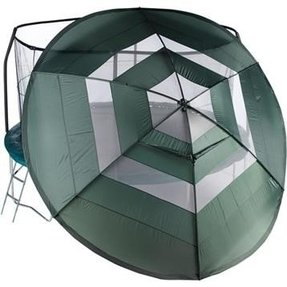 Weather cover for trampoline with enclosure