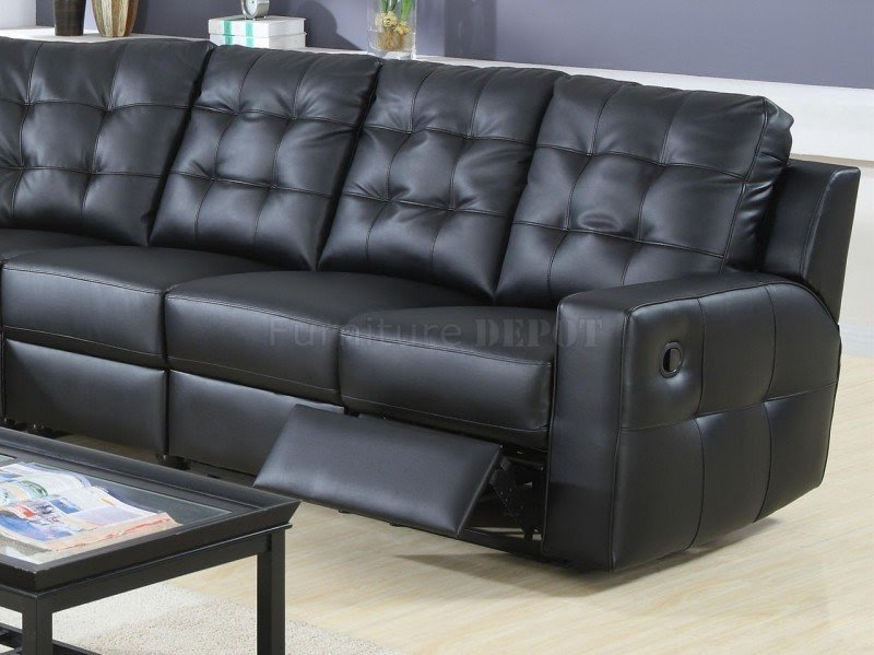 Black Bonded Leather Double Reclining Contemporary Sectional Sofa 1