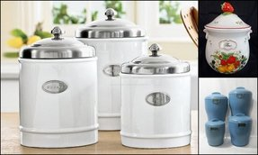 Ceramic stainless steel canisters set of 3