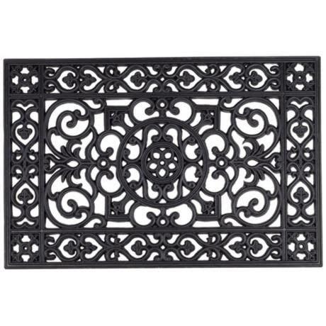Chatham Wrought Iron Style Black Rubber Doormat 2p964 Lampsplus