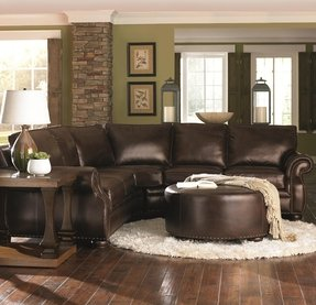 Chocolate Brown Leather Sectional W Round Ottoman Ottomans