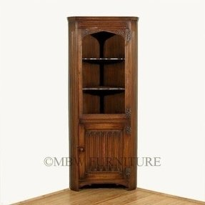 English Oak Corner Bookcase Bookshelf Curio Cabinet C1940 Baa29 Ebay