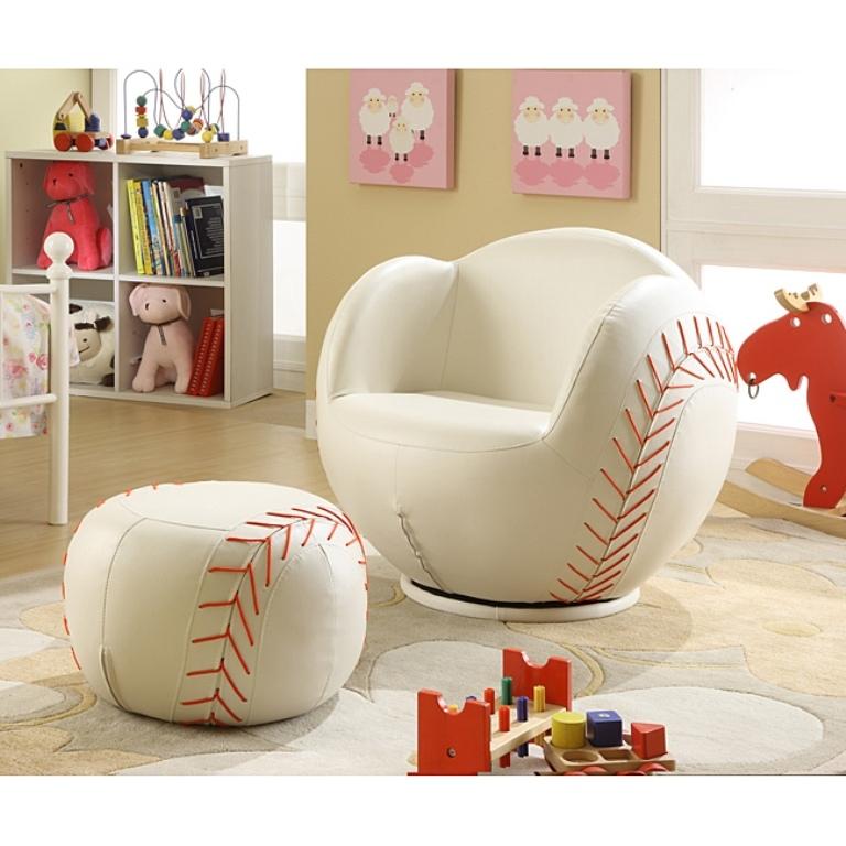 Kids Baseball Chair And Ottoman