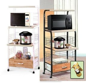 Kitchen microwave utility cart rolling shelf bakers rack power strip