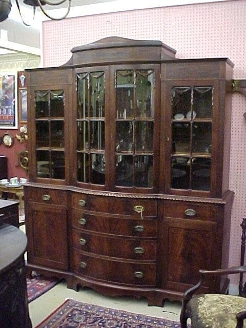 Beau Large China Cabinet With Glass Doors