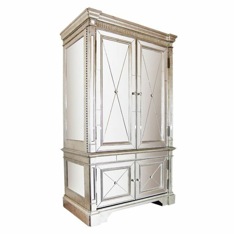 Incroyable Mirrored Antique Style Robe Mirror Armoire