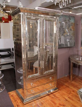 Mirrored Armoire Wardrobe With Decorative Hinged Handles And Pointed