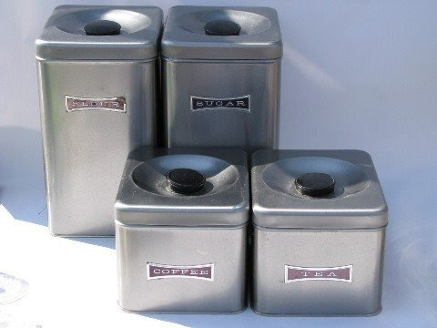 Mod Stainless Steel Canister Set Vintage Kitchen Canisters