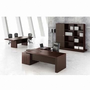 Office Furniture Veneer Office Desk Modern Walnut Color L Shaped