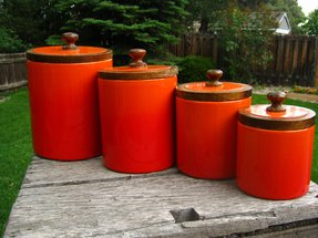 Orange kitchen canisters 1