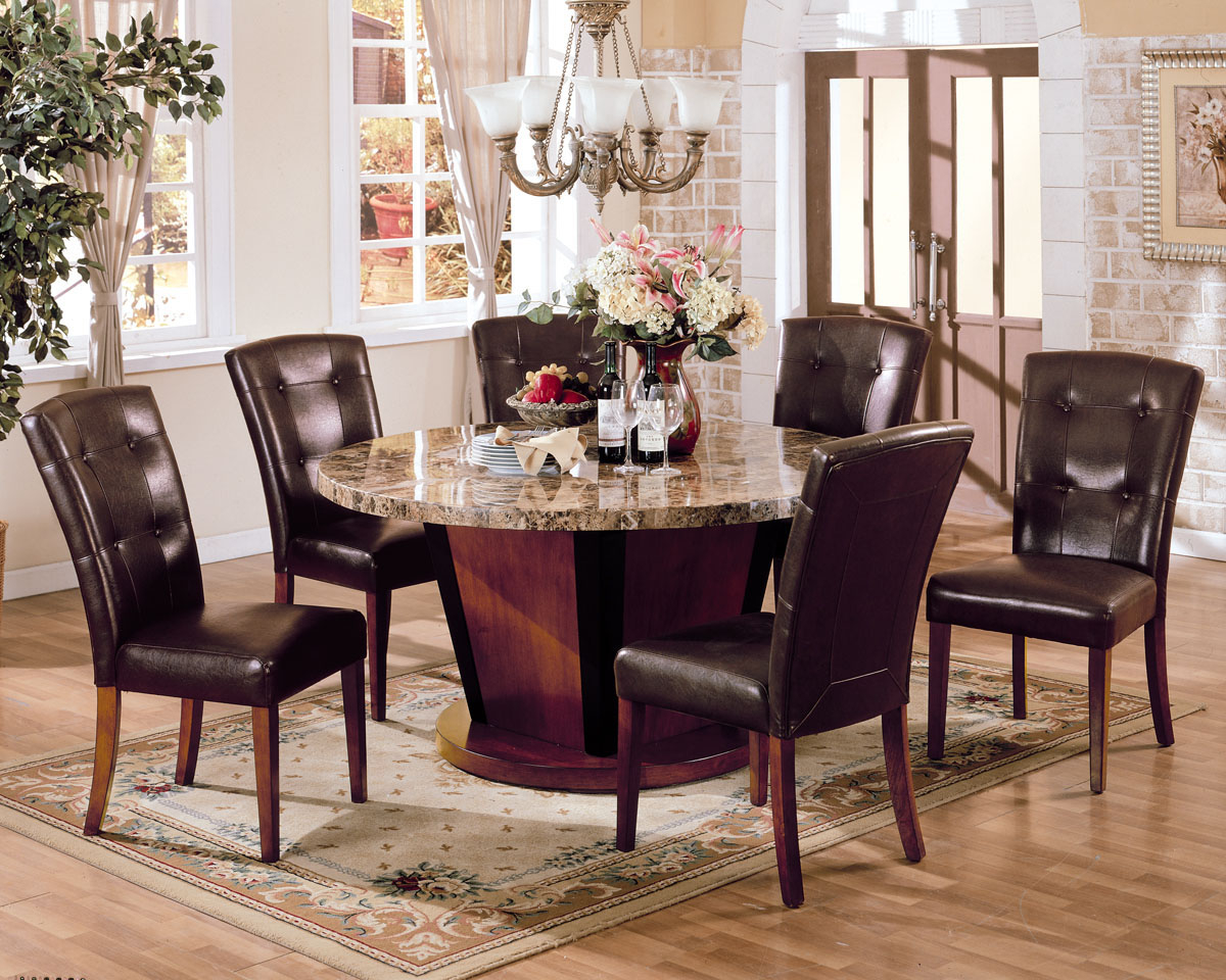 Pc Round Marble Top Dining Table Set In Brown By