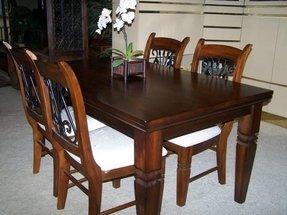 Rectangular Wood Wrought Iron Dining Room Kitchen Table Chairs For