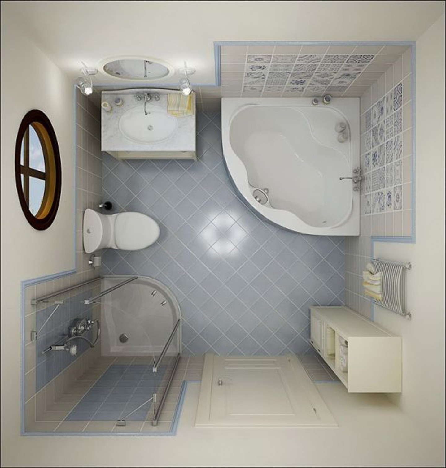 Small Shower Areas Small Bathroom Layout Idea With Corner Bathtub