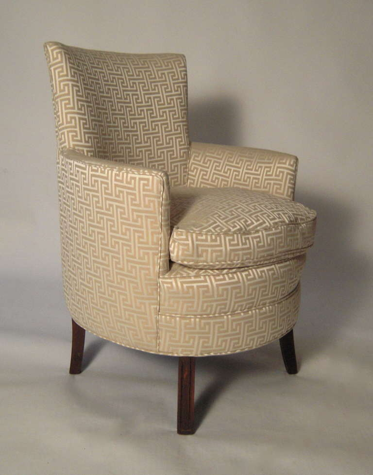 Stylish Small Curved Upholstered Slipper Chair Image 2
