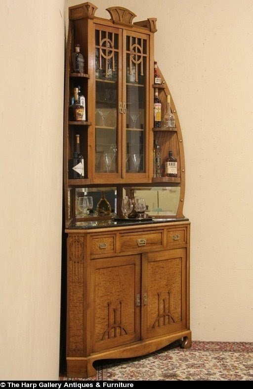 Ordinaire Art Nouveau Vienna 1900 Corner Bar Server Cabinet Marble Top