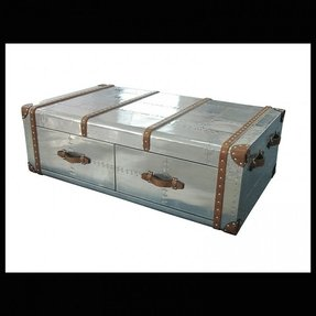 Details about coffee table aviator aluminum trunk leather straps wood