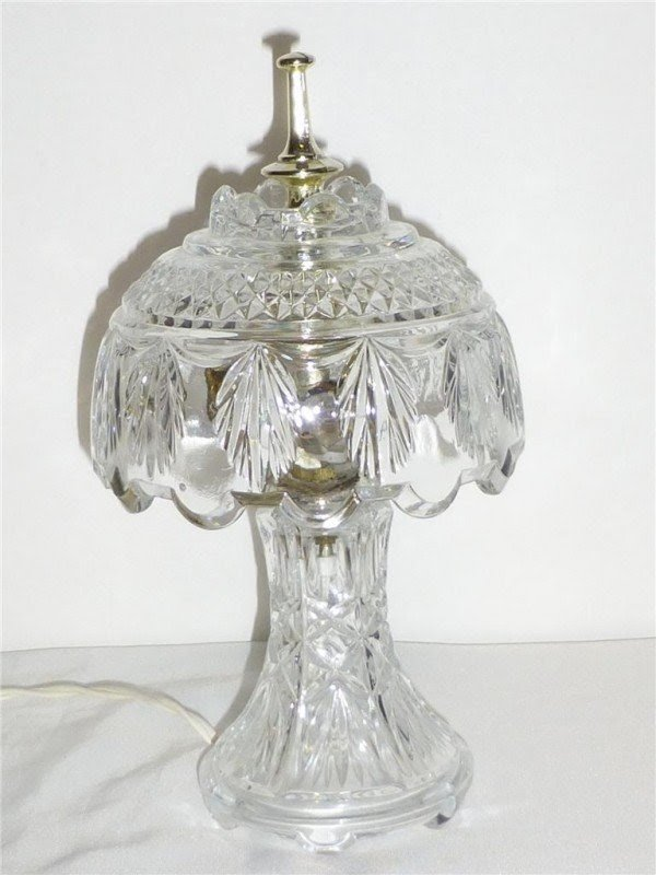 Details About Vtg Lead Crystal Dome Shade Table Lamp Night