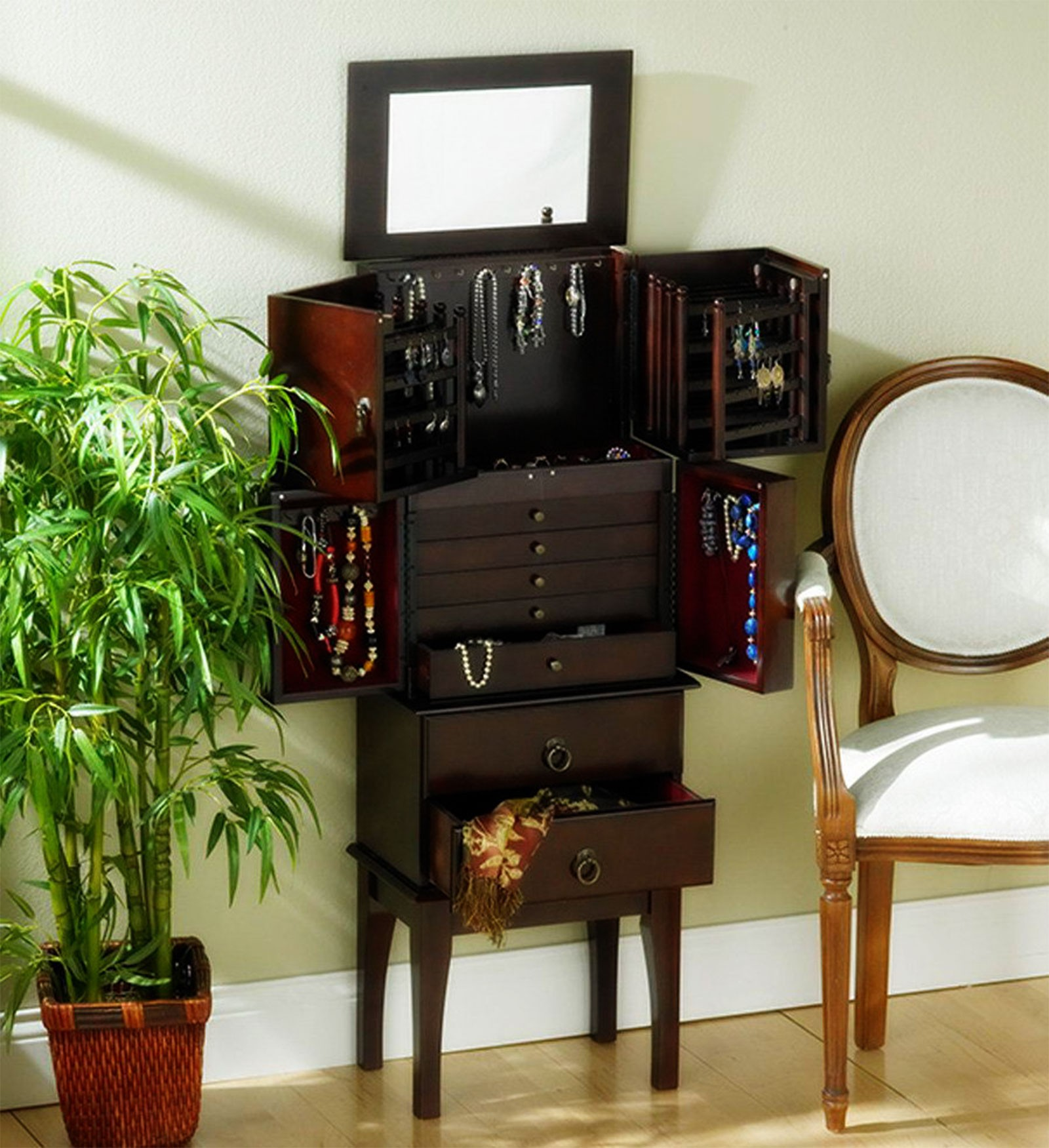Superb Free Standing Full Length Mirror With Jewelry Storage Inside