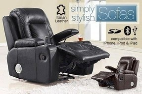 Italian leather recliner armchair withspeakers for 499 from simply
