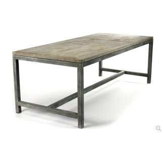 Rectangular reclaimed wood dining table and black metal table legs