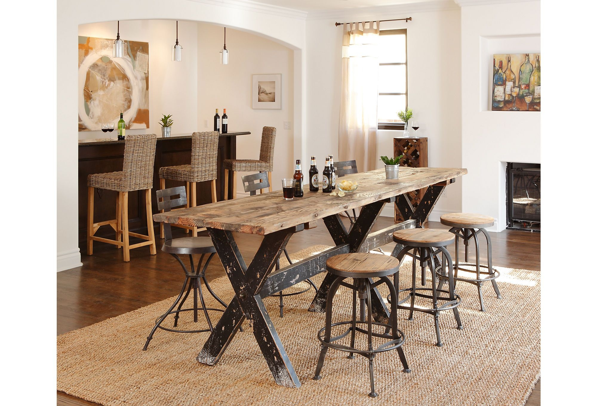 Gentil Rustic Bar Height Dining Table
