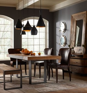 Rustic wood and metal dining table 2