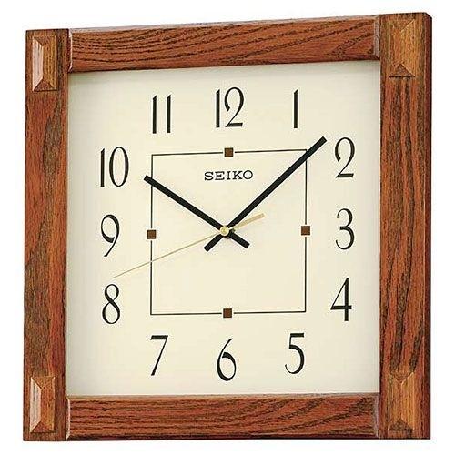 Seiko Square Wall Clock Medium Brown Wooden Case Cream Colored