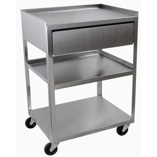Exceptional Stainless Steel Rolling Cart 3 Shelf With Drawer Utility Carts