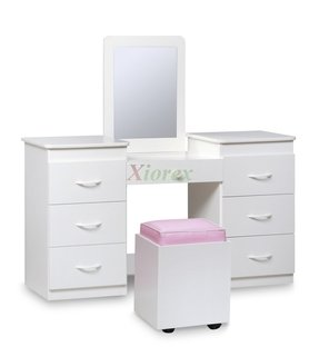 White vanity table with mirror