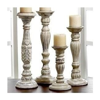 White wooden candle holders 1