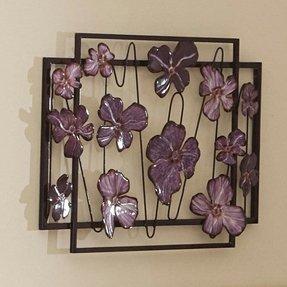 Purple Fl Flower Abstract Metal Wall Art Sculpture Decor