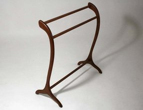 Danish modern teak quilt holder or blanket rack image 5