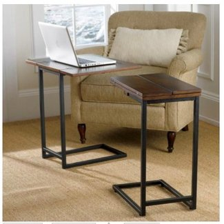 Expandable living room tray table accent side end table furniture