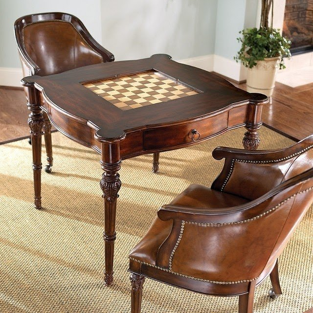 Freeman game table and two leather chairs traditional home office & Powell Set Game Table - Foter