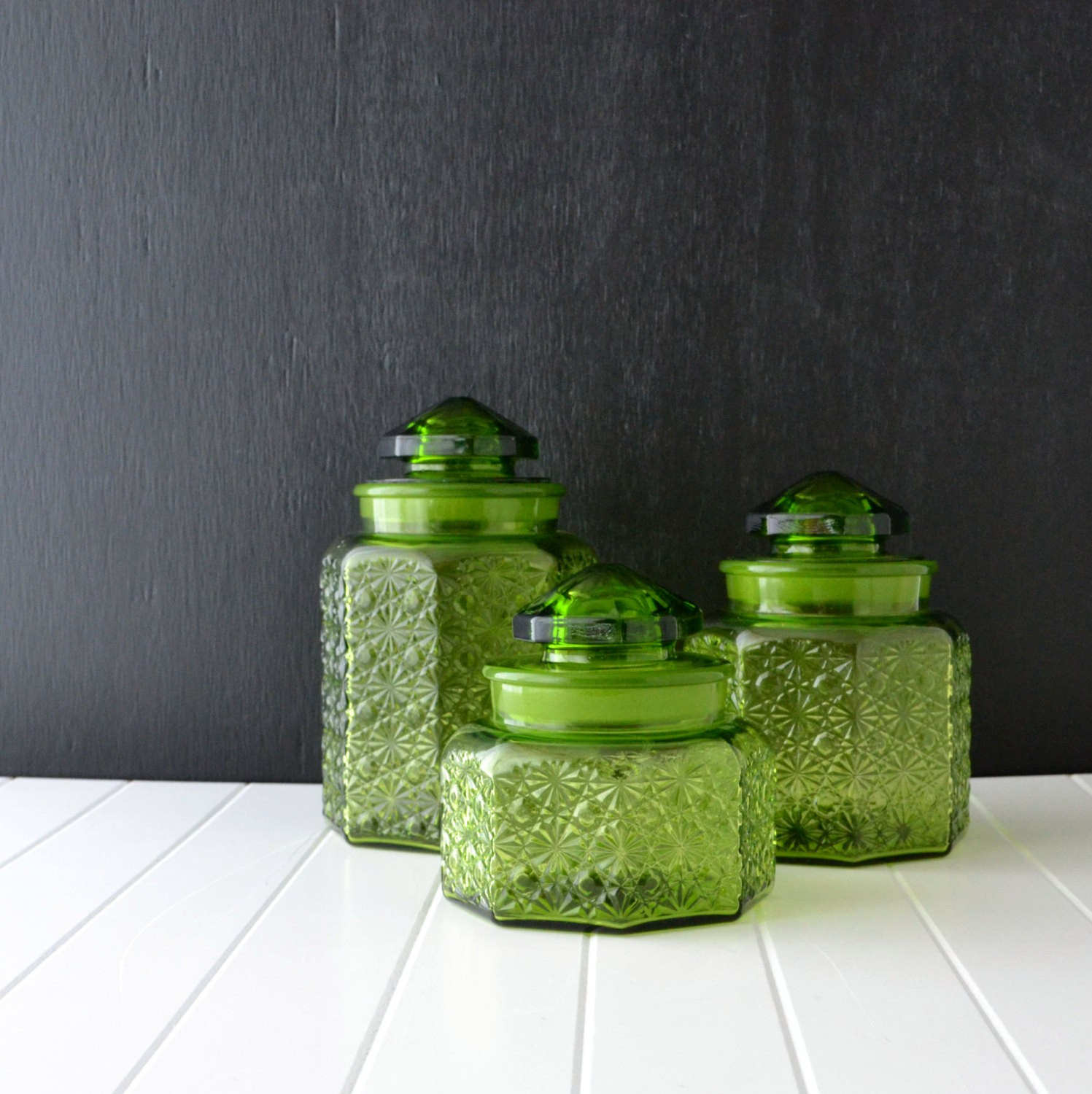 Green Glass Canisters Vintage Kitchen Canisters L E Smith Glass