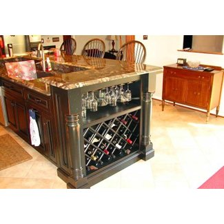 Kitchen islands with wine racks