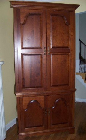 Genial One Piece Tv Armoire Entertainment Center Solid Cherry With Shelving