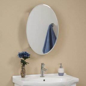 Oval mirrored medicine cabinet 3